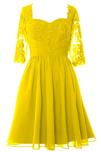 MACloth Women Half Sleeves Mother of Bride Dress Midi Cocktail Party Formal Gown Amarillo