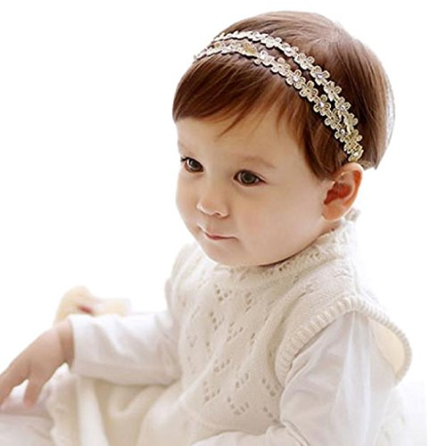 FEITONG Kids Toddlers Girls Rhinestone Headband Hairband Flowers Hair Accessories