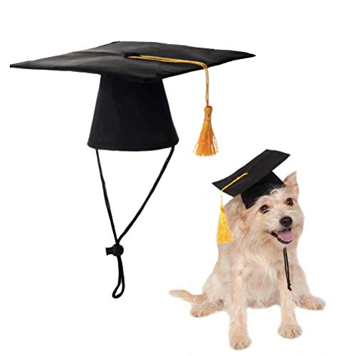POPETPOP 2Pack Dog Graduation Cap Puppy Graduation Hats with Yellow Tassel Pet Graduation Costume for Dogs Cats Holiday Party Creative Costume Accessory