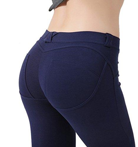 Blu Aderenti Stretta Tibetano Pantaloni Con Aderenti Elasticizzati Da Donna Gamba Sexy zdqO4qxB