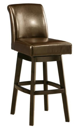 Impacterra Pastel Furniture LV-219-30-FB-867 Lake Village Swivel Barstool, 30-Inch, Feher Black and Brown Leather