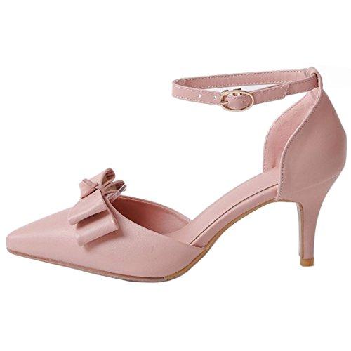 RAZAMAZA Mujer Moda Verano Cerrado Sandalias Dulce Tacon Delgado Zapatos con Bowknot Rosado
