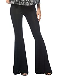 Women's Plus Black Bohemian Casual Lounge Stretch Jersey Knit Bell Bottoms Pants
