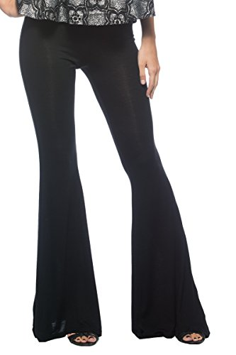Women's Plus Black Bohemian Casual Lounge Stretch Jersey Knit Bell Bottoms Pants (XL)