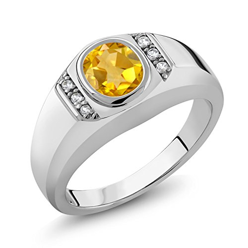(Gem Stone King Sterling Silver Oval Yellow Citrine & White Created Sapphire Men's Ring 1.16 cttw (Size 12))