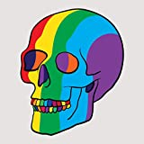 Rainbow Psychedelic Party Skull - Five Inch Tall Full Color Decal On 3M Reflective Material