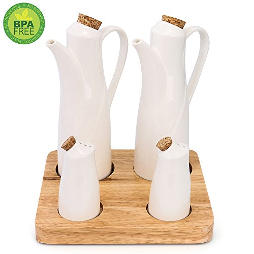 Ceramic Olive (2 Ceramic Olive Oil Dispenser - 2 Condiment Container Spice Jar, Perfect for Soy Sauce or Vinegar Cruet, Modern White Porcelain Pot for Kitchen Seasoning Liquid Bottle with a bamboo base- Set of 4)