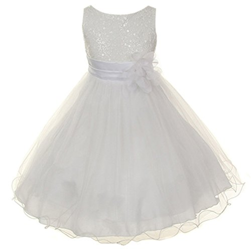 - Baby Girls Beautiful Sparkly Glitter Sequined Mesh Double Layered Tulle Flower Girl Dress White - Size Large