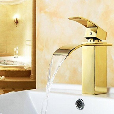 MK Bathroom Sink Faucet Golden Royal Design Waterfall Brass High Grade Faucet (Ti-PVD Finish)