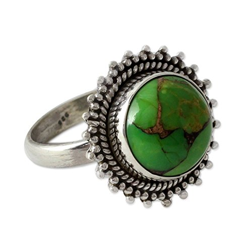 (NOVICA Composite Green Turquoise .925 Sterling Silver Round Cocktail Ring, Verdant Promise')