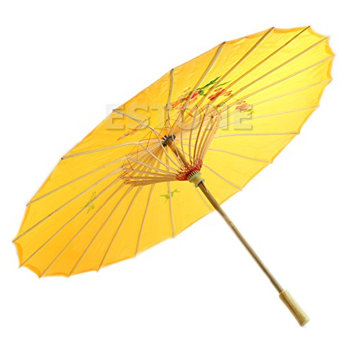(UJuly Grace Handmade Chinese Traditional Oil Paper Umbrella with Bamboo Hand Grip Painted Parasol for Wedding Dance Party Art Decoration (Yellow))