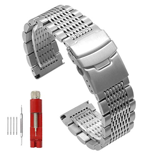 Polished Mesh - Side Brushed Intermediate Polished Mesh Braided Solid Stainless Steel Watch Band Suitable for Men and Women 20mm / 22mm / 24mm Black/Silver/Gold (22mm, Silver)