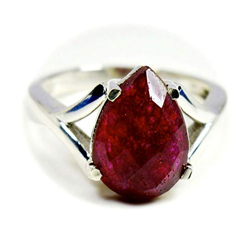 (55Carat Real Indian Ruby Sterling Silver Ring for Women Pear Birthstone Handmade Size 5,6,7,8,9,10,11,12)