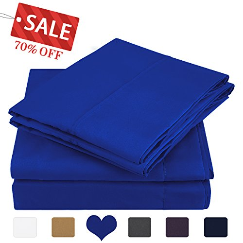 Queen Size Bed Sheets (HOMEIDEAS 4 Piece Bed Sheet Set (Queen,Sapphire Blue) 100% Brushed Microfiber 1800 Bedding Sheets Deep Pockets,Wrinkle & Fade Resistant)