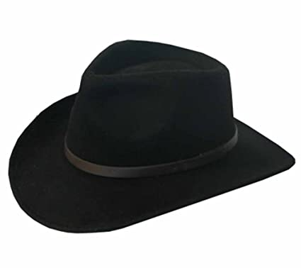 6dc271cdc1334 Ultrafino BENTLEY OUTBACK Crushable Outback Wool Felt Hat Fedora BLACK Men  and Women 7 7