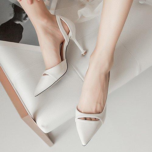 e tacchi a sexy bocca cava donne primavera nuove creamy stiletto alti punta Nero white superficiale YMFIE scarpe estate Igq46Hwn
