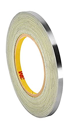 """3M 3380 0.25"""" x 60yd (PK10) Silver Aluminum Foil Tape, -30 to 260 degrees F, 0.0033"""" Thickness, 60 yd Length, 0.25"""" Width (Pack of 10)"""