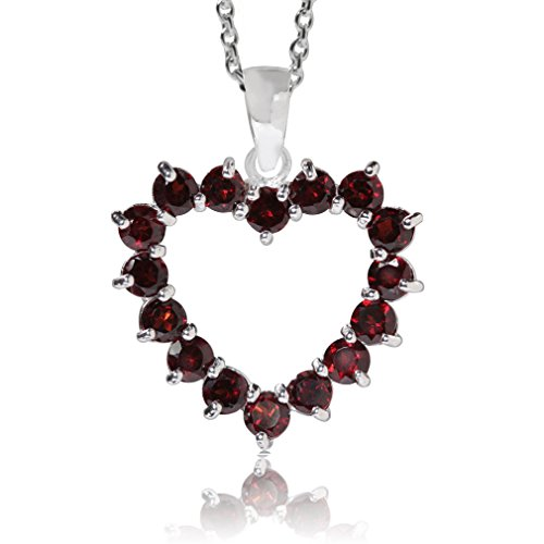 2.4ct. Natural Garnet 925 Sterling Silver Heart Pendant w/ 18 Inch Chain Necklace