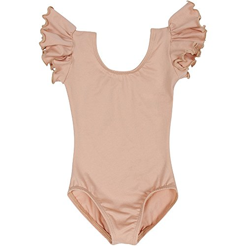 Nylon Onesie - Toddler and Girls Leotard for Dance, Gymnastics and Ballet with Flutter Ruffle Short Sleeve Nude Beige L (10)