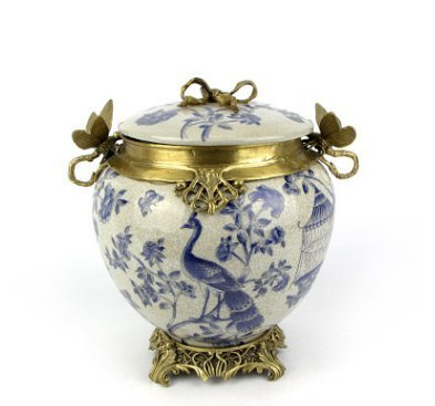 Chinese Home Furnishing Decorative Hand-Painted Cabinet General Storage Tank Ornaments (navy blue)