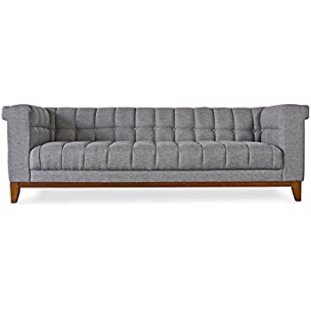 BRENT PARK MidCentury Modern Sofa   Mid Century Chesterfield Sofas   Tufted  Grey Fabric