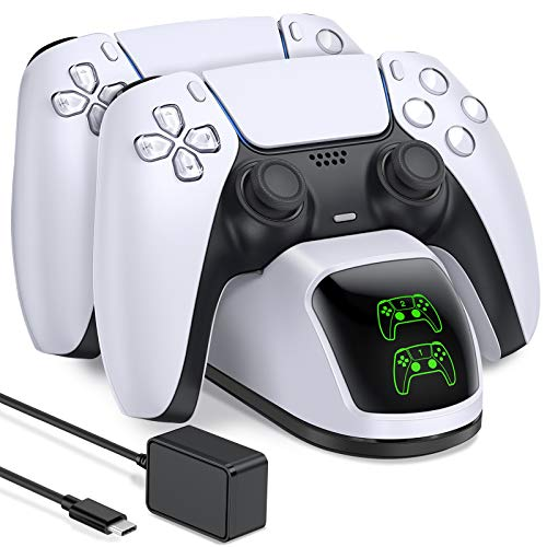 PS5 Charging Station, PS5 Controller Charger Station for Dualsense Controller, Upgrade PS5 Controller Charger with 5V/3A Fast Charging AC Adapter, BEBONCOOL PS5 Charger Stand for Dual Controller