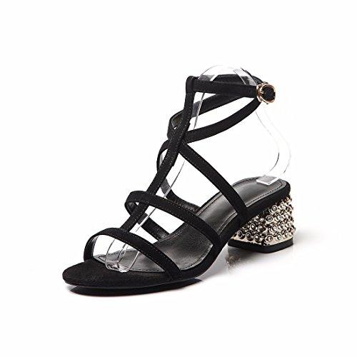 de Cuero Sandalias de Sandalias Redonda Mujer black Zapatos Sandalias Sandalias Cabeza y Casuales 4OdwFq4a
