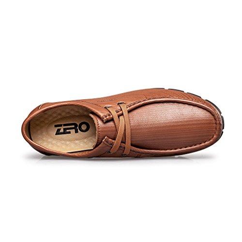 Zro Mens Mode Spets-up Mocc-toe Avslappnade Oxford Drivande Sko Ljusbrun
