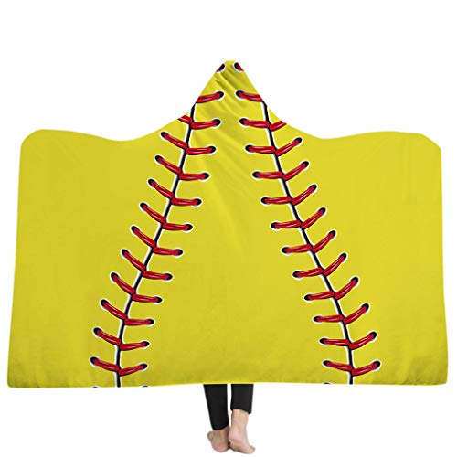 Soccer Embroidery 1 (ForHe Oversized Soccer Pattern Hooded Sherpa Blanket Soft Printed American Football Beach Towel (A#, 1#))