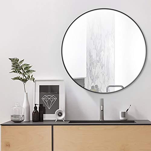 Simmer Stone 31.5 Wall Mount Round Mirror, Modern Decorative Framed Mirror, Black