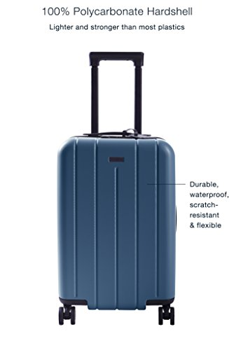 """CHESTER Carry-On Luggage/22"""" Lightweight Polycarbonate Hardshell/Spinner Suitcase/TSA Approved Cabin Size (Ocean Blue)"""