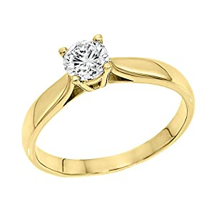 IGI Certified 14k yellow-gold Round Cut Diamond Engagement Ring (0.57 cttw, H Color, VS1 Clarity) - size 9