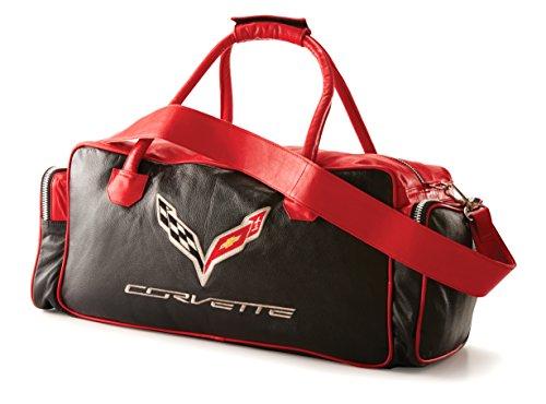 Corvette C7 Red Black Leather Travel Bag