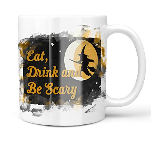 Neonblond 11oz Coffee Mug Eat, Drink and Be Scary Halloween Witch with your Custom Name ()