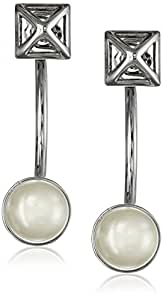 Rebecca Minkoff Pearl Two Part Curved Earrings