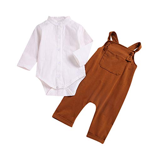 Kids Baby Boys White Long Sleeve Jumpsuit Romper + Overalls Pants Outfits Set (6-12Months)