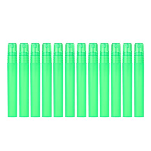 YUFENG 12pcs Frosted Plastic Tube Empty Refillable Perfume Bottles Spray for Grils or Women (green) (Bottle Star Perfume)