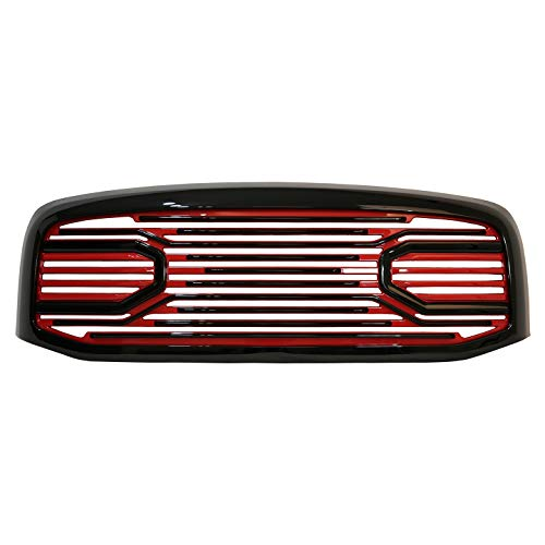 Paragon Front Grille for 2006-08 Dodge Ram 1500/2500/3500 - Black/Red RAM Style Grill Grilles with Mesh