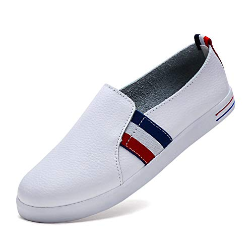 (YiCeirnier Slip On Sneakers for Women Leather Fashion Shoes White Tennis Shoes 8808-2/Bai-37)
