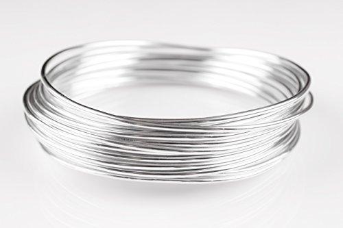Creacraft Schmuckdraht Silber 10 Meter, Aluminiumdraht (2mm)