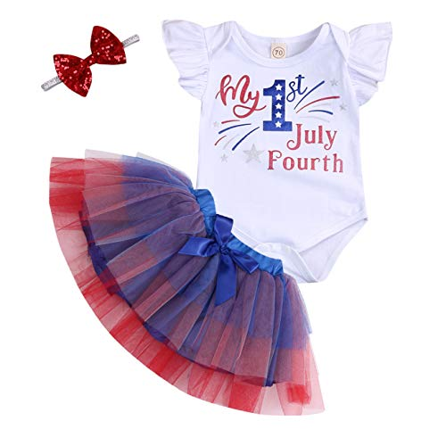Independence Day Infant Baby Girls My 1st July Fourth Ruffle Sleeve Romper and Tutu Tulle Skirt with Headband Outfits Set (Multicolor, 6-12 Months)