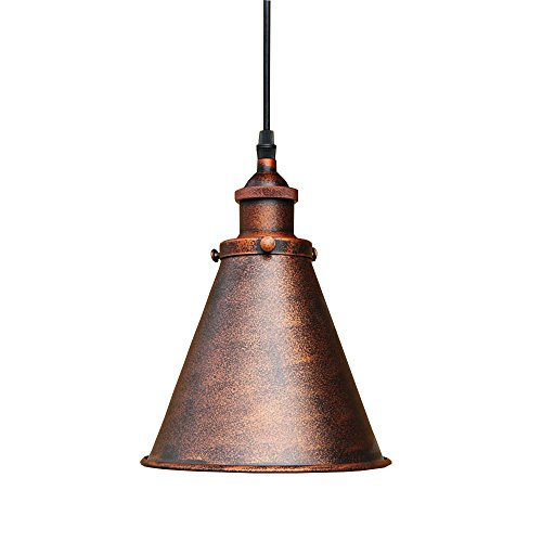 Lingkai Industrial Pendant Lighting Single Light Hanging Light Fixture Antique Copper Finished Ceiling Light with Cone Shade