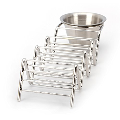 2 Lb. Depot Taco Shell Holder, Stainless Steel Taco Rack Hard Soft Taco's, 2 Pack (Holds 3 Tacos with Cup) by 2 Lb. Depot (Image #6)