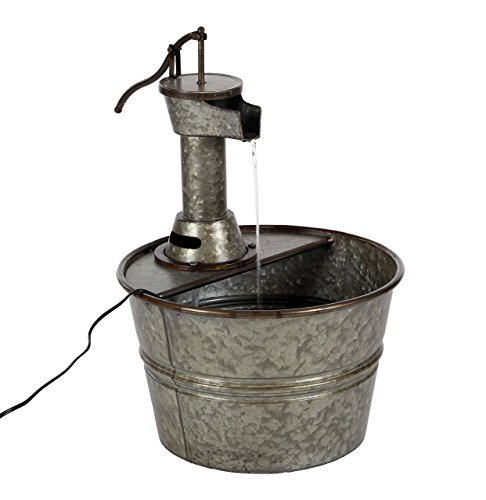- Deco 79 70551 Gray Iron Water Pump with Bucket Design Fountain, 18
