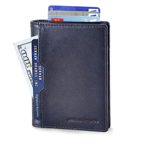 Wallets for Men Slim Mens leather RFID Blocking Minimalist Card Front Pocket Bifold Travel Thin (Luxe Blue 5.0)