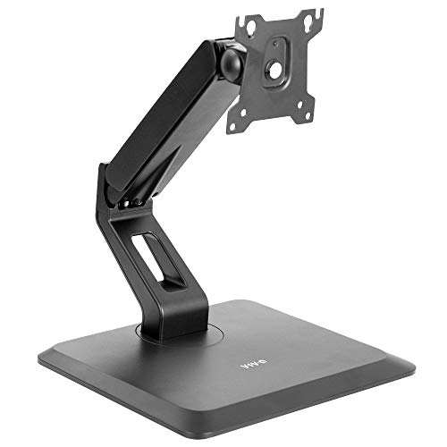 VIVO Premium VESA Single 17 to 32 inch Computer Monitor & Touch Screen Desk Stand with Rotating Base, Freestanding Pneumatic Height Adjustable Arm Mount (STAND-V001R)