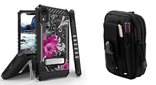Beyond Cell Tri-Shield Series Compatible with iPhone XR - Military Grade Shockproof Stand Case (Lotus Vine) with Travel Carrying Pouch and Atom Cloth for Apple iPhone XR