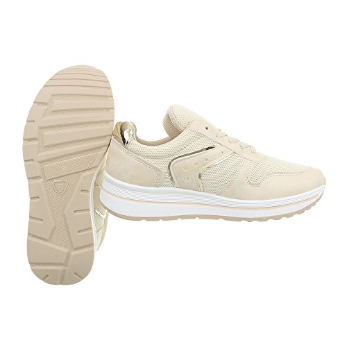 Ital-Design Low Top Sneakers Damenschuhe Kinderschuhe Fashionsneaker Freizeitschuhe Beige PP-24