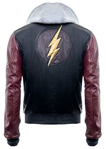 Justice League DC Comics Superhero Flash Hoodie Black Real Leather Mens Jacket (Medium) by Leather Hawkers (Image #2)