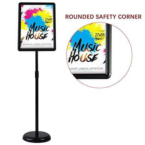 HUAZI Adjustable Sign Holder Standing Floor Sign Stand for 8.5x11 inches,Both Vertical & Horizontal View Displayed,Snap-Open Frame with Safety Corner for School Church Business Show,Black
